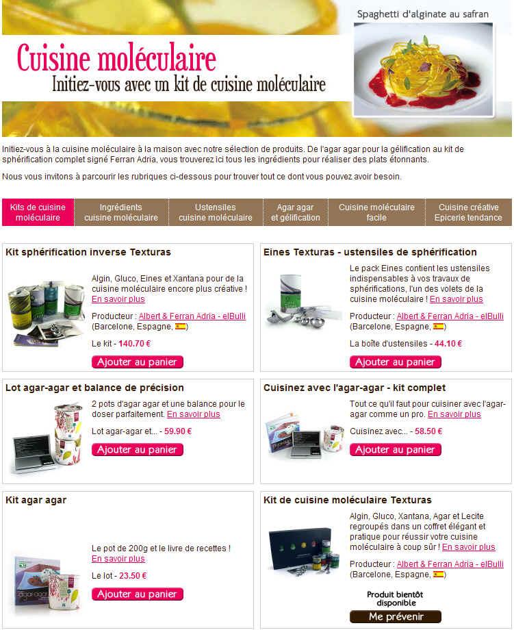 Bien manger kits cuisine mol culaire et sph rification for Spherification cuisine moleculaire