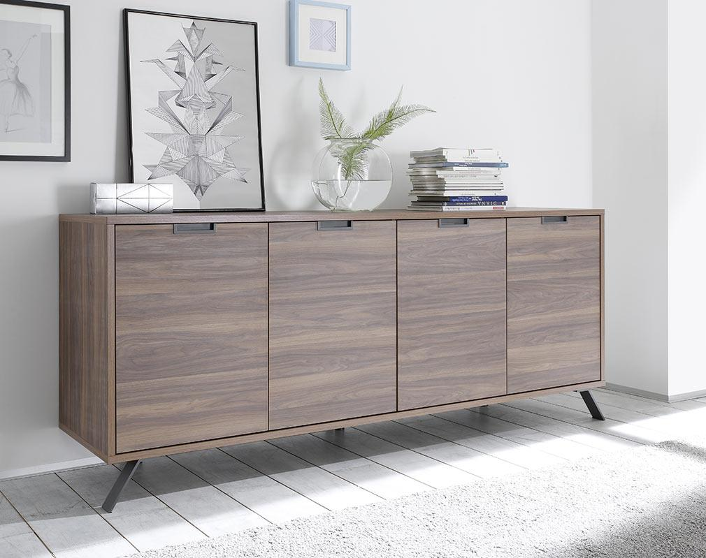 buffet design 4 portes noyer origin buffet miliboo. Black Bedroom Furniture Sets. Home Design Ideas